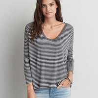 AEO Soft & Sexy Drop Shoulder T-Shirt, Gray