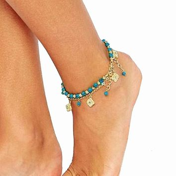 ZB 12 Women Bohemian Beach Turquoise Barefoot Sandal Foot Jewelry Anklet Chain