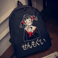 South Korea ulzzang backpack diablo Japanese harajuku masks printed Japanese girl female bag bag movement