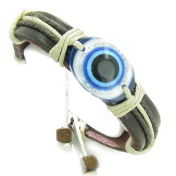 Amulet Genuine Leather Adjustable Bracelet with All Seeing Evil Eye Protection Symbol Lucky Charm