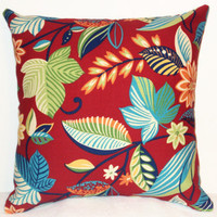 "Pillow Covers 18"" Set of Two - Red with Bold Leaf Pattern"