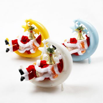 Christmas Senta Claus Moon Sleeping Snore Sing Light Toy Hanging Decoration Holiday Gift