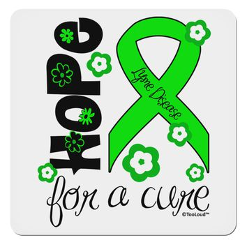 "Hope for a Cure - Lime Green Ribbon Lyme Disease - Flowers 4x4"" Square Sticker"