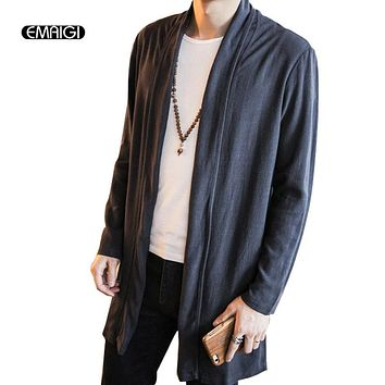 Size 5XL Men Cotton Linen Trench Jacket Male Solid Color Lapel Long Cardigan Trench Coat Thin Outwear