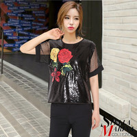 New 2017 Korean Women Summer Short Sleeve Sequined Tee Top with Flower Patch & Net O-Neck Fashion Stylish Hip T-Shirt Style 2490