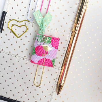 Pineapples Flamingo Book Planner Paper Clips, Planner Jumbo Bookmark, Planner Accessories - Personalized