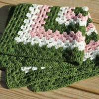 "Pink and Green Baby Blanket - Security Blanket 24"" x 24"""