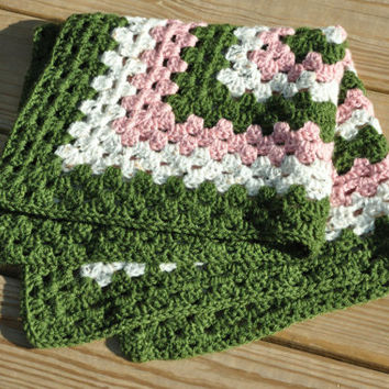 """Pink and Green Baby Blanket - Security Blanket 24"""" x 24"""""""