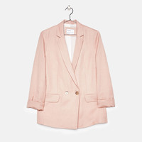 Double-breasted linen blazer - Jackets - Bershka United States