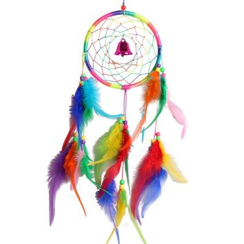 "Indian Original Dream Catcher Wind chime Feathers Craft Wall decor - 14"" long"