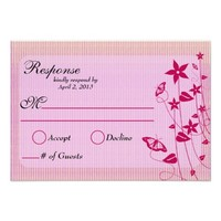Wedding Response Card | Pink & Red Flower Butterfl