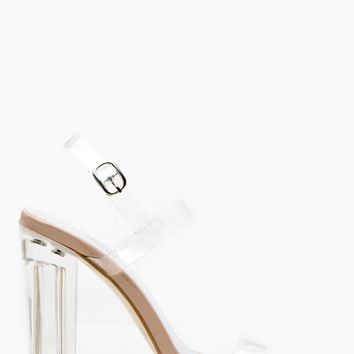 Nude Transparent Chunky Sling Back Vinyl Heels @ Cicihot Heel Shoes online store sales:Stiletto Heel Shoes,High Heel Pumps,Womens High Heel Shoes,Prom Shoes,Summer Shoes,Spring Shoes,Spool Heel,Womens Dress Shoes