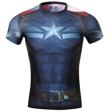 Cody Lundin Men's Sonic Compression Sleeveless Captain America the Avengers 2 T-shirt [8323333889]
