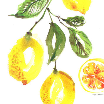 Kitchen art lemon tree watercolor painting, Lemon print, Botanical print, Yellow home decor, Fruit painting Buy 2 Get 1 Free