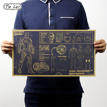 TIE LER Hollywood Movie Poster Adornment Picture Iron Man Design Drawings Nostalgic Retro Kraft Paper Wall Stickers 51x29cm