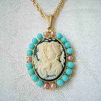 Two Sisters Cameo Necklace Turquoise Blue Rose Bead Gold Rope Chain 18
