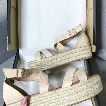 Right Time Natural Suede Strappy Platform Espadrilles