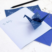 Constellations 'Stariami' Origami Letter Writing Set. Starry sheets & matching envelopes. Quirky gift for children and teenagers. Astronomy