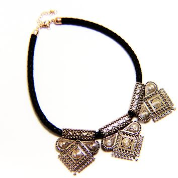 Braided Faux Leather Gold Gilded Filigree Necklace