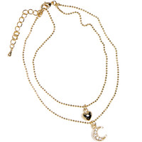 Gold Electro Plated Czech Crystal Dazzling Moon Heart Ankle Bracelet | Body Candy Body Jewelry