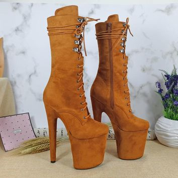 Leecabe Newest 20CM Pole dancing shoes High Heel platform Boots open toe with suede materials cover heels Pole Dancing boot