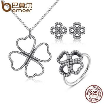 100% 925 Sterling Silver Jewelry Set Heart-Shaped Petals of Love Jewelry Sets Sterling Silver Jewelry ZHS020
