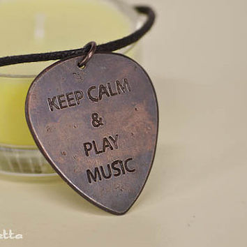 Custom Text - KEEP CALM  -Personalised guitar pick necklace - Text, what you want - guitar pick jewelry - metal pick - copper