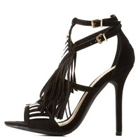 Black Contrast-Stitch Fringe Dress Sandals by Charlotte Russe
