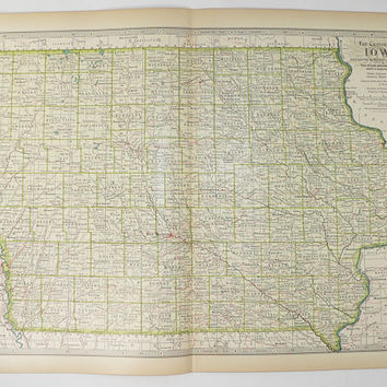 Antique Iowa Map, 1899 Vintage Map of Iowa State, IA Map, Unique Guy Gift Under 30, Iowa Wedding Gift for Couple, 1899 Century Map 11 x 15
