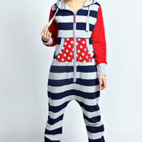 Jovie Stars And Stripes Contrast Sleeve Onesuit
