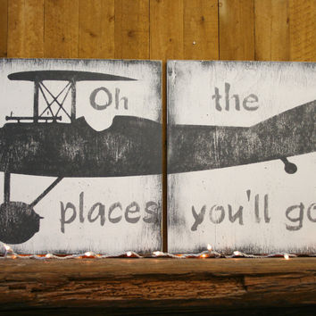 Vintage Airplane Wood Sign Boys Nursery Decor Above Crib Decor Oh The Places You'll Go Rustic Nursery Gray And White Nursery Baby Gift