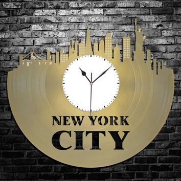 New York Clock - NYC Skyline Clock, Vinyl Record Art, Cityscape Clock, Unique Wall Clock, Large Wall Clock, Vinyl Record Clock, Gift for Him