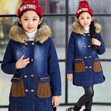 Children thick warm outerwear Jeans jacket casual fur collar coat Fashion baby Cartoon coat girls Knitting Hooded denim jacket