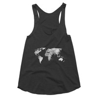 World Map Racerback Tank, Tank Tops For Women, Womens Top, American Apparel, Fitness Tank, Workout Tank, Boho Clothing, World Map Art, Gift