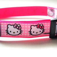 Pink Hello Kitty Dog Collar Adjustable Sizes (M, L, XL)