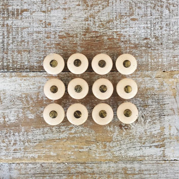 Drawer Knobs 12 Drawer Pulls Ceramic and Brass Knobs Mid Century Small Tan Drawer Knobs Cabinet Drawer Knobs Dresser Drawer Knobs Unique