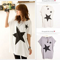 Plus Size New Arrival Women Autumn Spring Short Batwing Sleeve Star Print Hollow out White Cotton T-shirt ladies tops = 1945991940