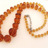 "Vintage Graduated Amber Glass Beads 28"" Necklace - Sterling Silver Clasp - original vintage beads - ginger rootbeer - honey -"