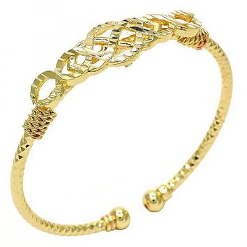 Gold Layered 07.311.0006 Individual Bangle, Twist Design, Diamond Cutting Finish, Golden Tone (03 MM Thickness, One size fits all)