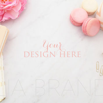 BUY 1, GET 1 FREE | Styled Stock Photography | Carrara Marble, Macarons, Gold Accessories, Pink Flower, High Resolution File | #0029