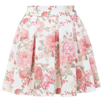Floral Print Skater Skirt - Skirts  - Apparel hipster indie grunge punk goth pretty cute pink