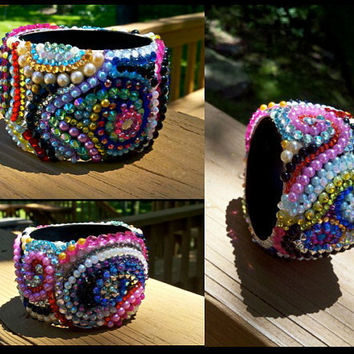 Handmade One of a Kind Swirl Embellished bangle by Sugar and Speisz