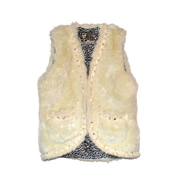 Beautiful Vintage Faux Fur Vest with Cheetah Lining and Jewel Detail Womens Medium Winter Fuzzy Vest Off White Winter Vest With Pockets