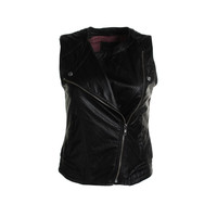 Sanctuary Womens Faux Leather Perforated Vest