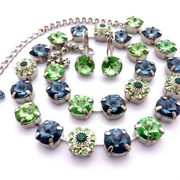"Swarovski crystal necklace ""Green Blossoms"" Montana blue and green peridot, rivoli with flower embellishments, Siggy Jewelry"