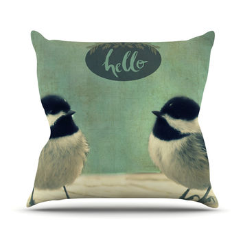 "Robin Dickinson ""Hello Birds"" Green Typography Outdoor Throw Pillow"