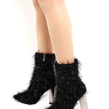 Black Tinsel Ankle Boots