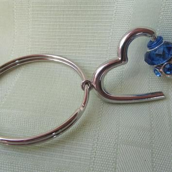 Keychain Blue or Purple Pandora Style Glass and Metal Beaded Silver Heart Keychain Fob