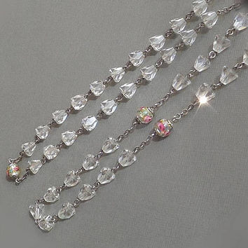 Vintage LONG Crystal Chain ROSE Lampwork Venetian NECKLACE Murano Art Glass Beads, Rosary Style Faceted Crystals, Womens Wedding Jewelry
