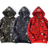 HCXX 19Sep 637 AAPE Camouflage Plus hooded cardigan coat sweater